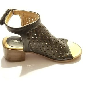 Black Wedge Sandals Girls Size 11